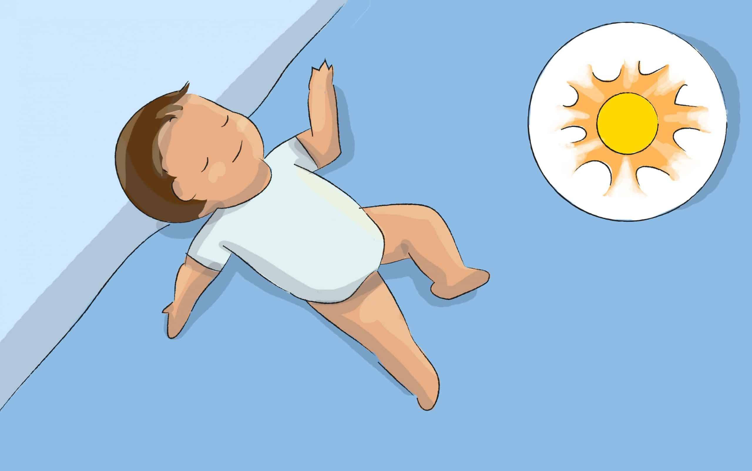 במזג אוויר חם, הלבישו את התינוק בגופיה דקה וקצרה ובחיתול בלבד ולאחר מכן עטפו אותו