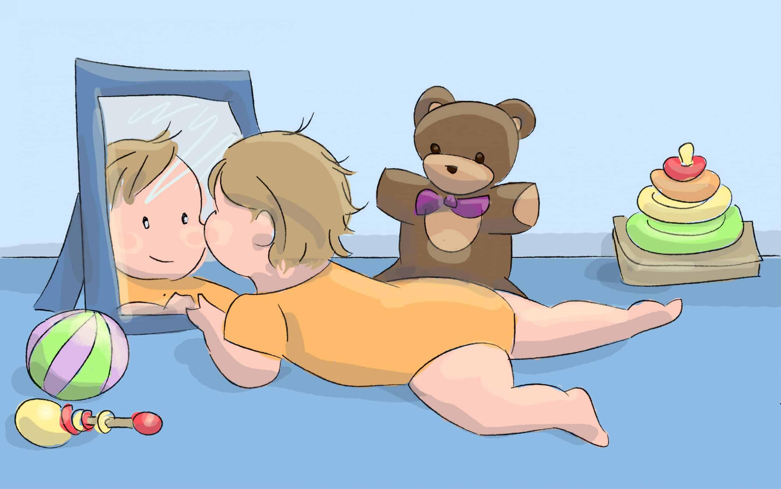 הניחו חפצים וצעצועים בטוחים בקרבת התינוק