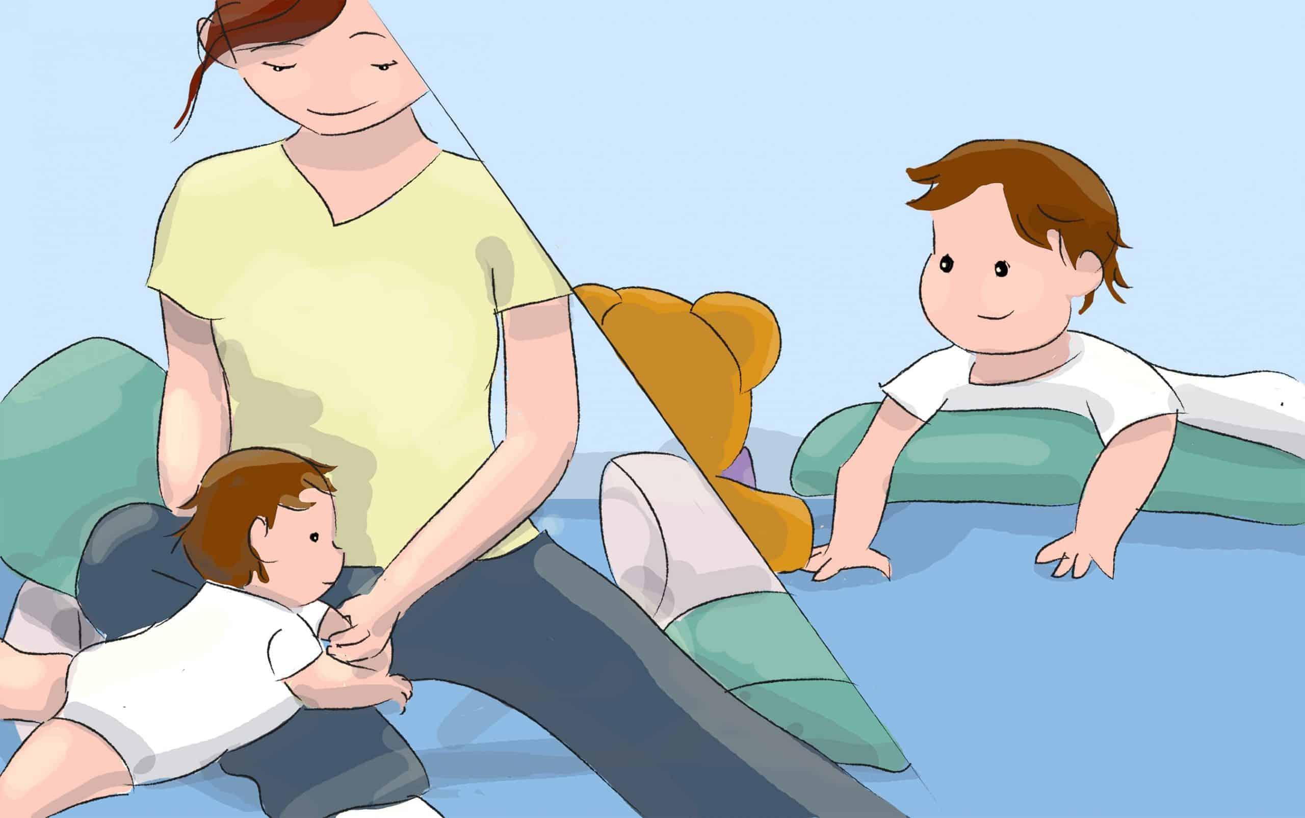 השכיבו את התינוק על הבטן כשהוא מונח על החזה שלכם או על מזרון שמתחתיו מונח קלסר גדול