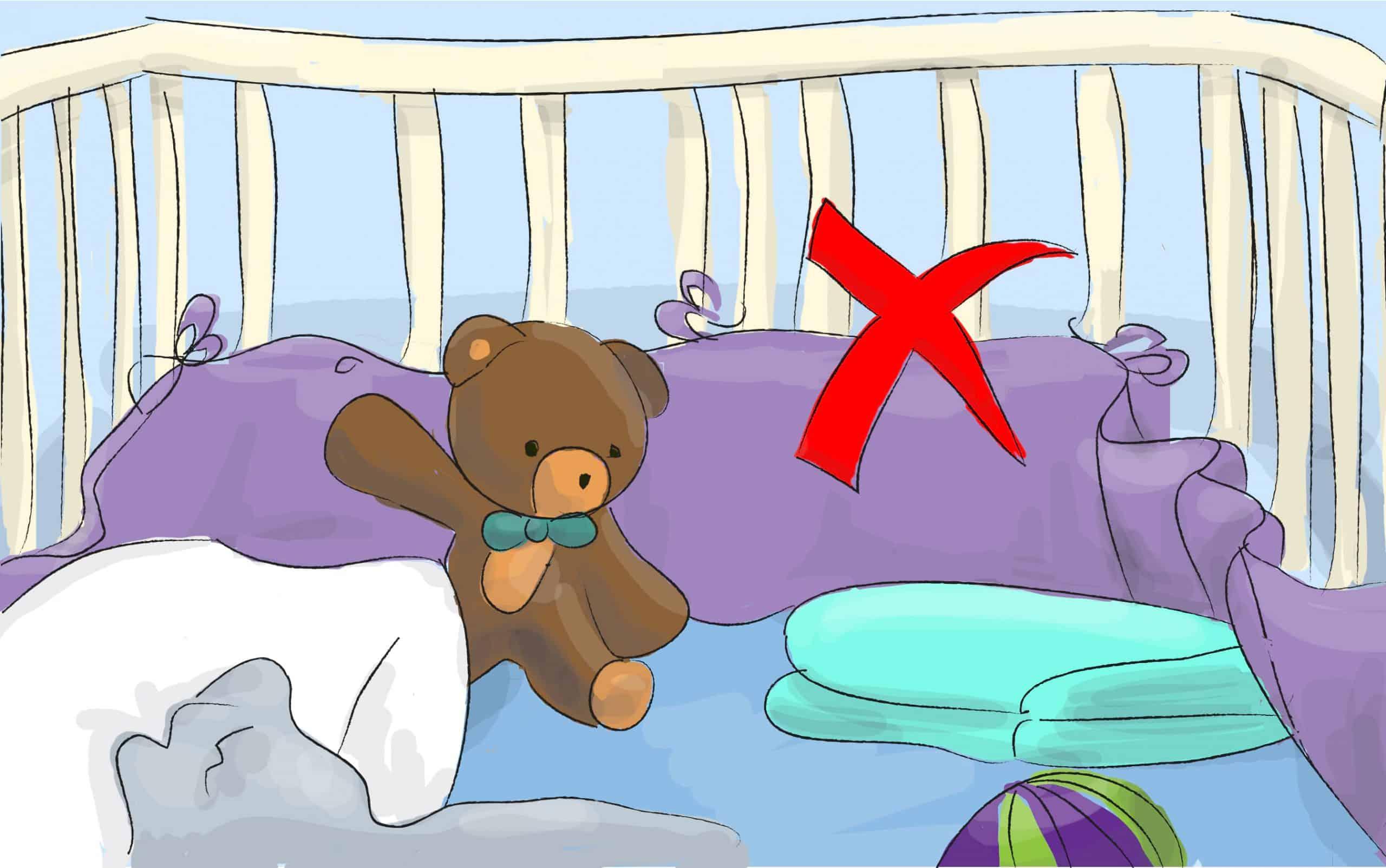 הימנעו מלהכניס למיטת התינוק שמיכות, כריות, בובות, מגן ראש וכל דבר שעלול לכסות את פניו של התינוק במהלך השינה